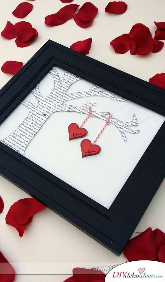 Eingerahmter Liebesbaum - Valentinstag Geschenke für Männer und Frauen