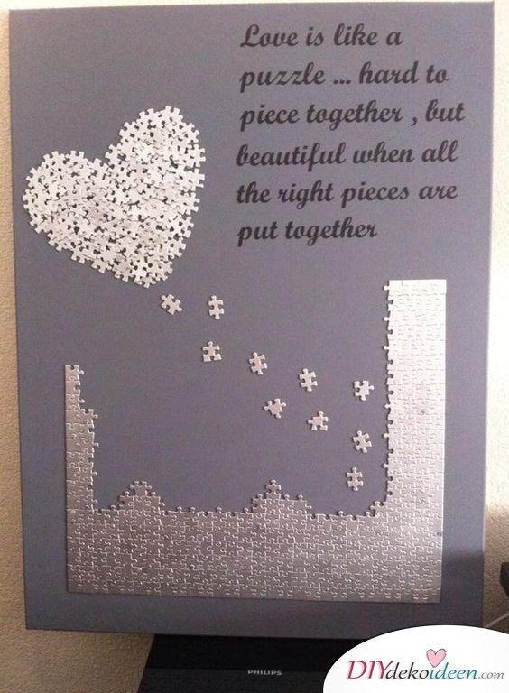 Liebespuzzle - Valentinstag Geschenke selber machen