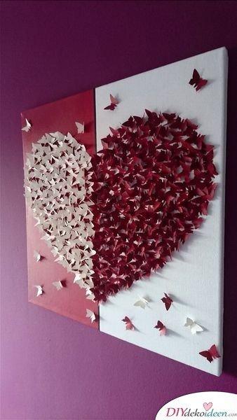 Romantische Schmetterlingswandkunst - Valentinstag Geschenke selber machen
