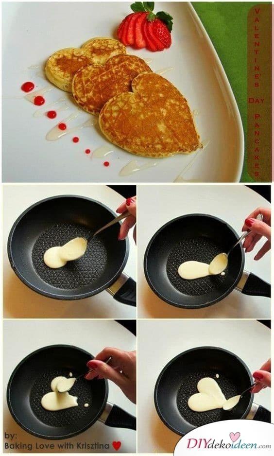 Pfannkuchenherzen, das klassische Dessert zum Valentinstag