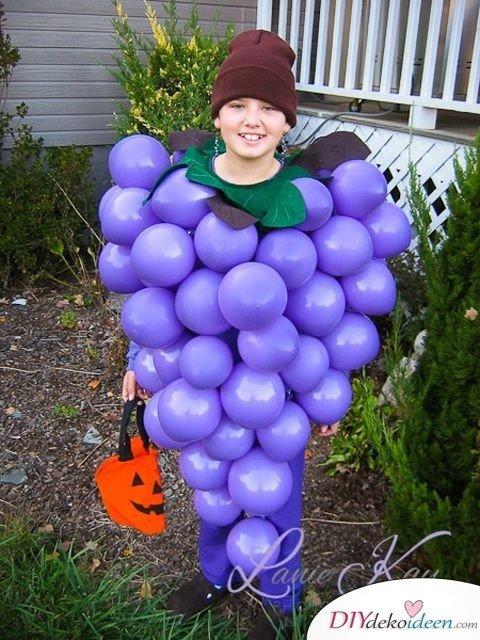 Kinder Karnevalskostüme selber machen – Weintraube