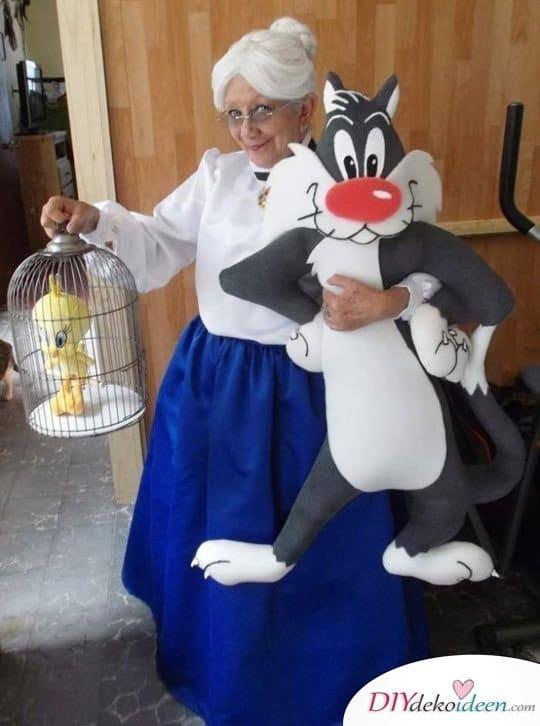 Oma, Tweety und Sylvester - Karneval Kostüm für Damen