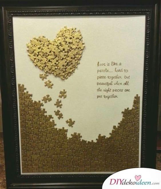 Herz aus Puzzleteilen - Geschenke für Mütter