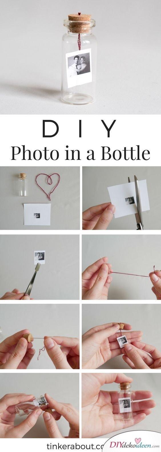 Foto in der Flasche - kleine Geschenke für Mama