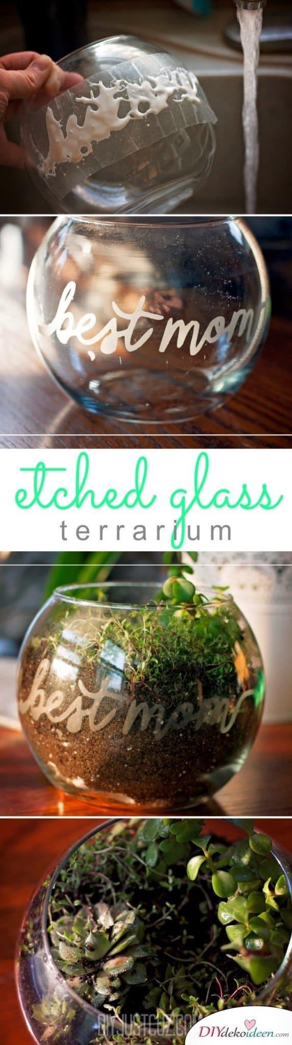 Terrarium mit Widmung - selbstgemachte Geschenke für Mama
