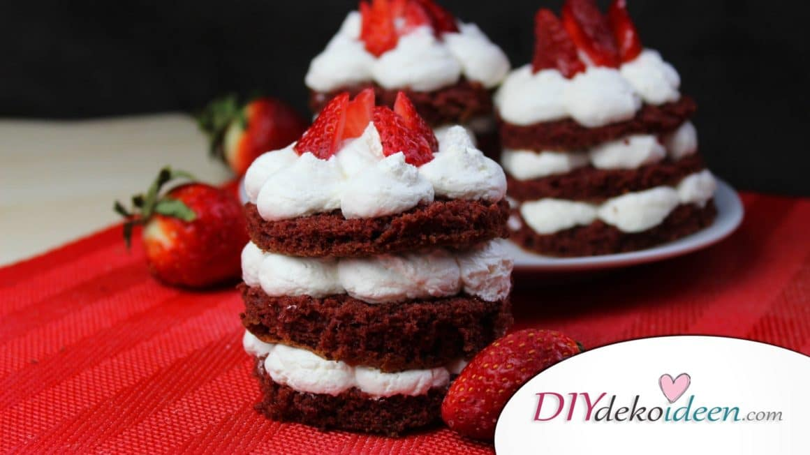 Valentinstag Mini Früchte Red Velvet Cake