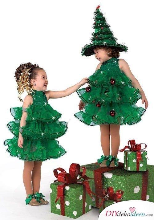 Faschingskostüme für Kinder selber machen - Weihnachtsbaum