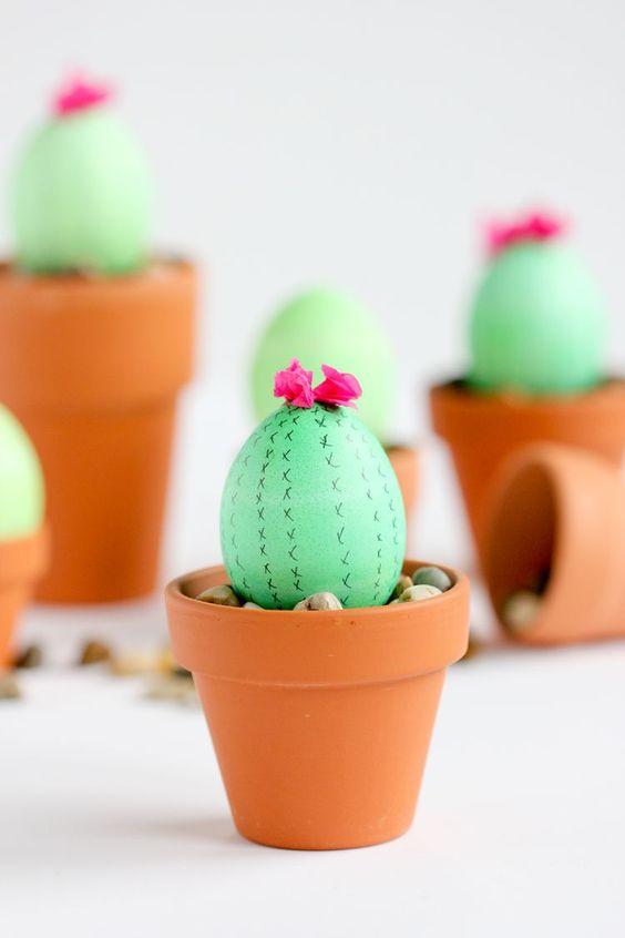 Kaktus-Eier basteln für Ostern