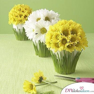 Frühlingsdeko basteln – Blumengesteck mit Weizengras
