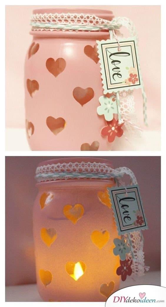 Einmachglas mit Herzchenmuster – Geschenke zum Valentinstag