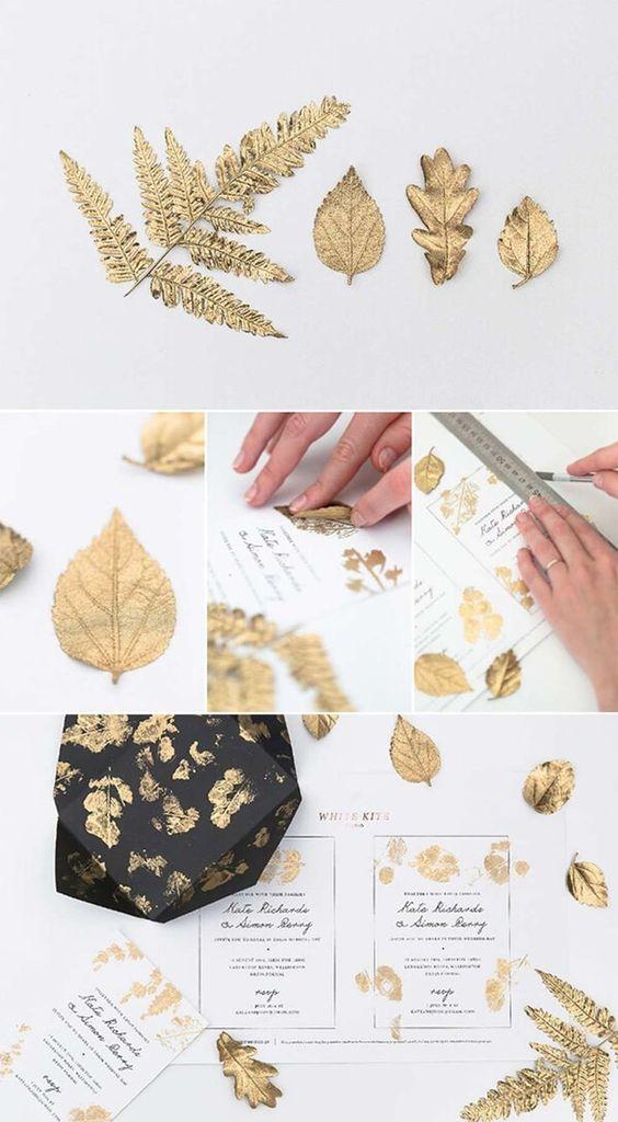 Hochzeitskarten selbst gestalten mit Blattdruck