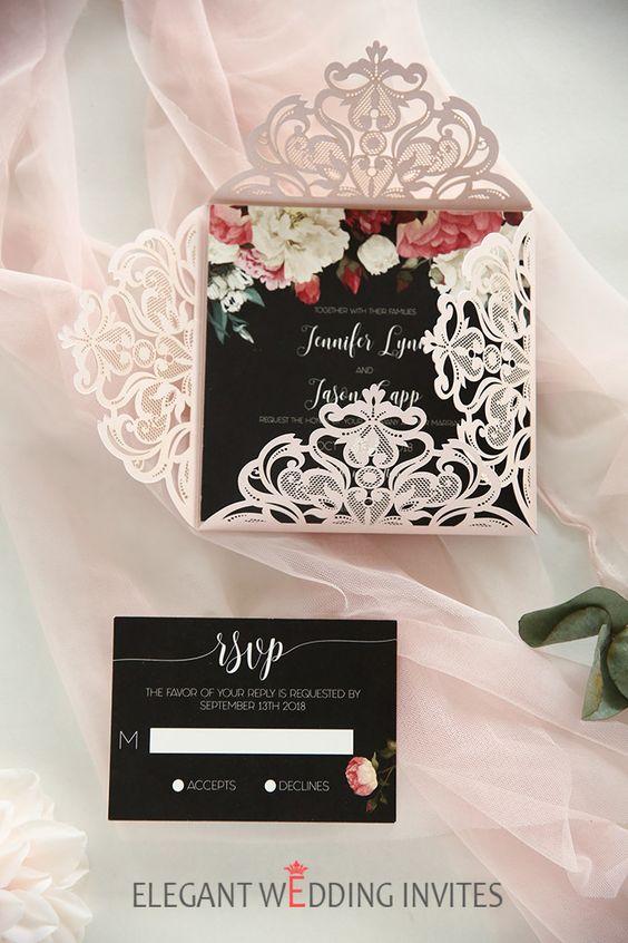 Einladungskarten zur Hochzeit selbst gestalten mit Papierspitzen
