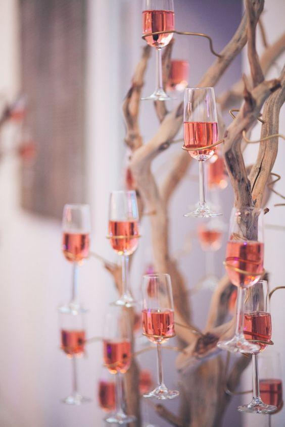 Hochzeitsdeko Ideen – Champagnerbaum