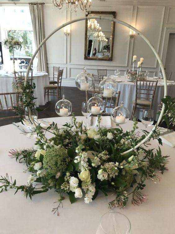 Kerzen und Blumen Deko für Hochzeit