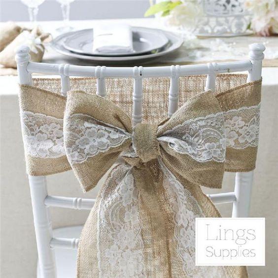 Stühle dekorieren mit Jute - Hochzeitsdeko Ideen