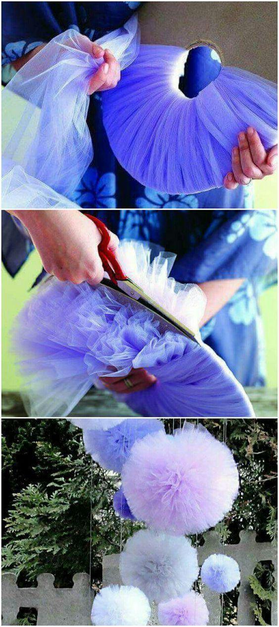 Tüllpompoms - Hochzeitsdekoration selber machen