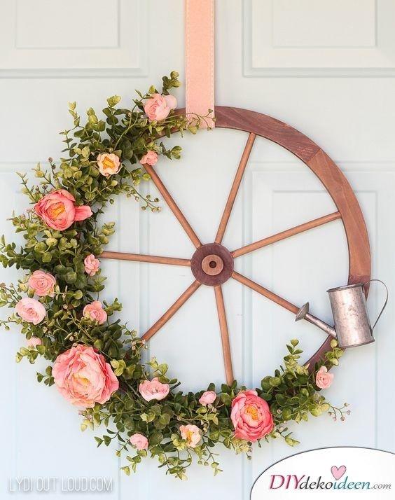Blühendes Wagenrad - Bastelideen Frühling