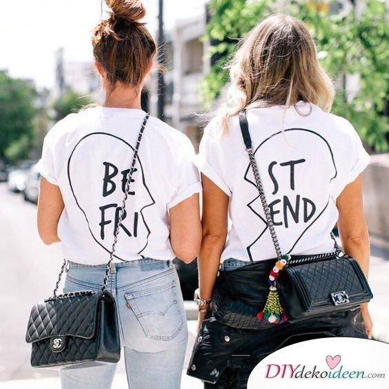 Shirts im Partnerlook - Geschenk für beste Freundin selber machen