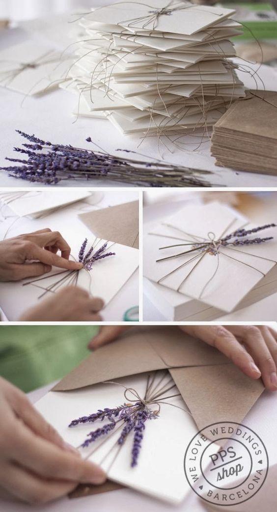 Hochzeitseinladungen selbst gestalten mit Lavendel
