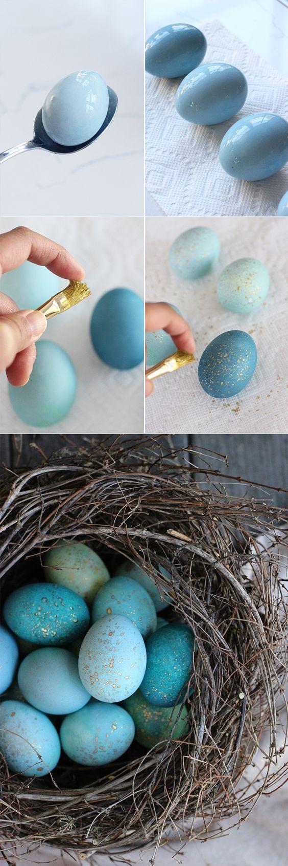 Goldgesprenkelte Eier - Ostereier basteln