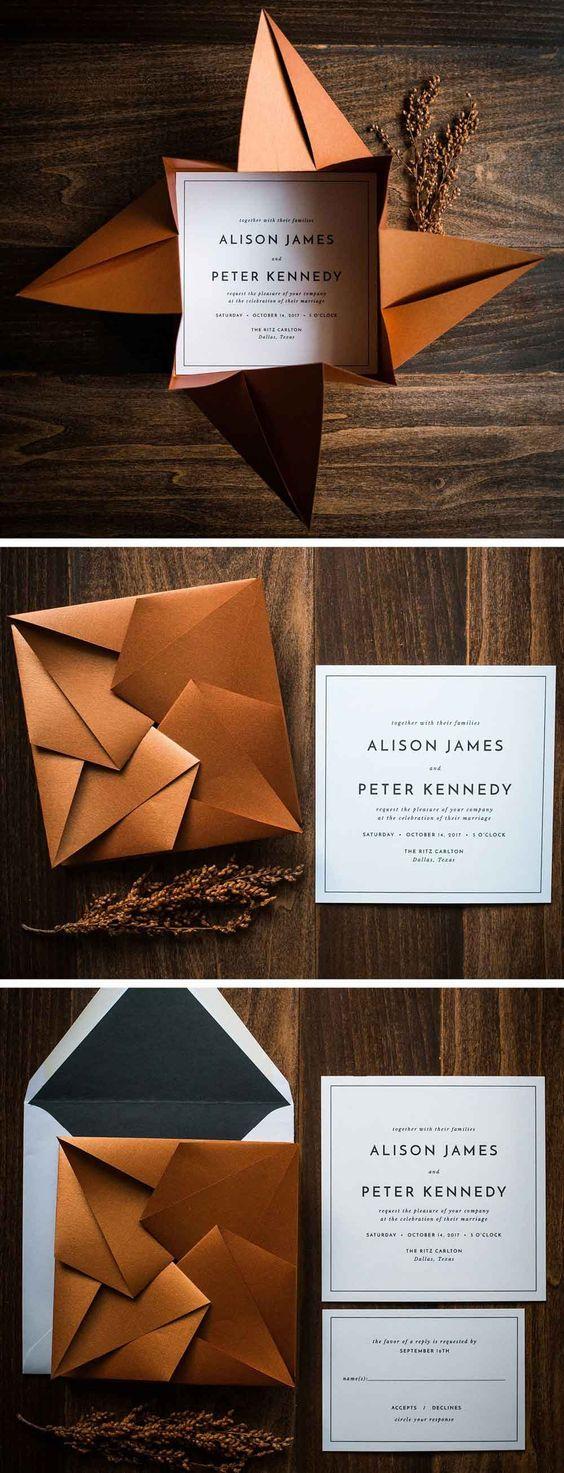 Einladungskarten zur Hochzeit selbst gestalten – Origami-Briefumschlag