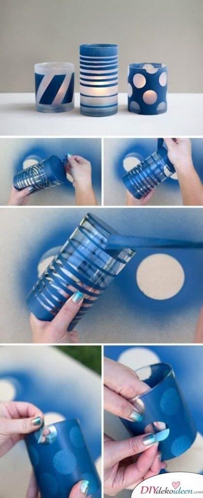 DIY dekorative Kerzengläser - Geschenk für beste Freundin selber machen