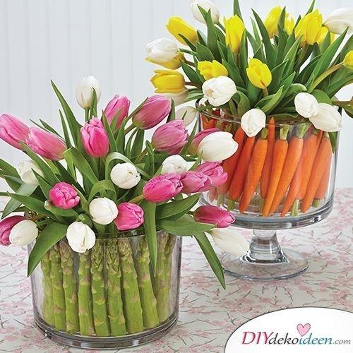 Tischdeko Frühling selber machen mit Gemüse