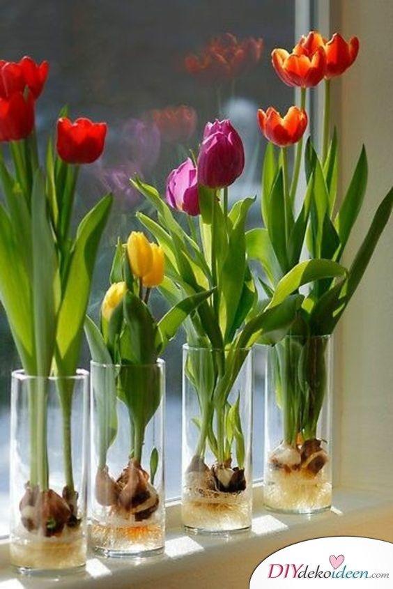 Frühlingstisch dekorieren mit Tulpen