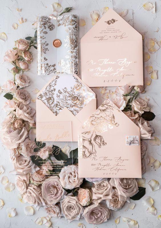 Hochzeitskarten Ideen – Filigranes Rosenmuster