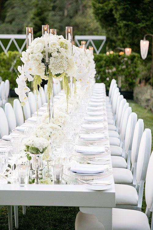 Elegante Hochzeit Tischdeko Ideen ganz in Weiß