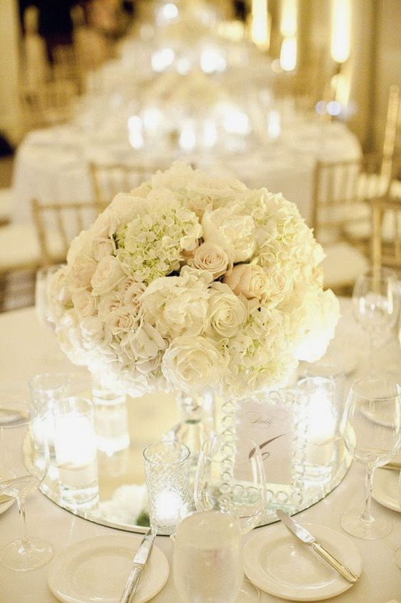 Einfache Blumenkugel in schlichtem Weiß - Hochzeit Tischdeko Ideen
