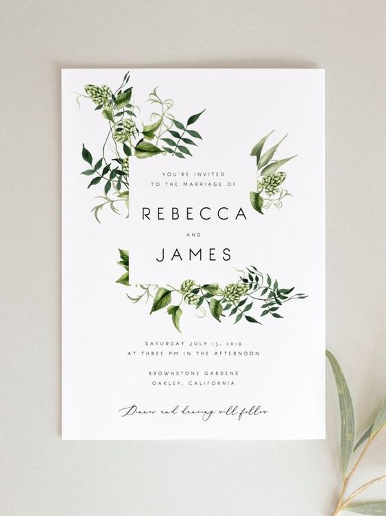 Hochzeitskarten Ideen – Schönes Blattmuster