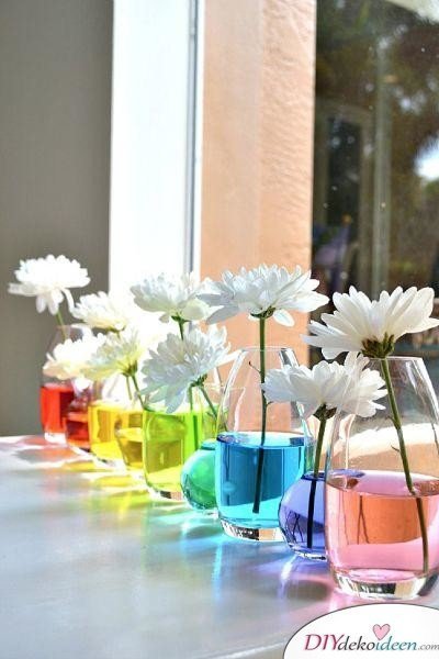Vasen in Regenbogenfarben - Frühlingsdeko