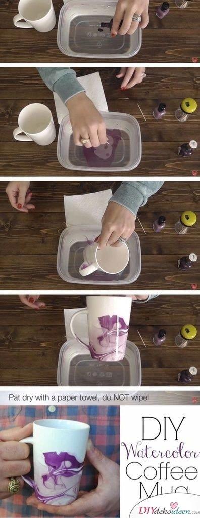 DIY Kaffeetasse mit Marmoreffekt - kleine Geschenke für Freundin