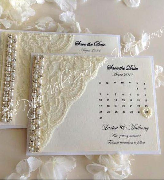 Hochzeitseinladung mit Spitze und Perlen