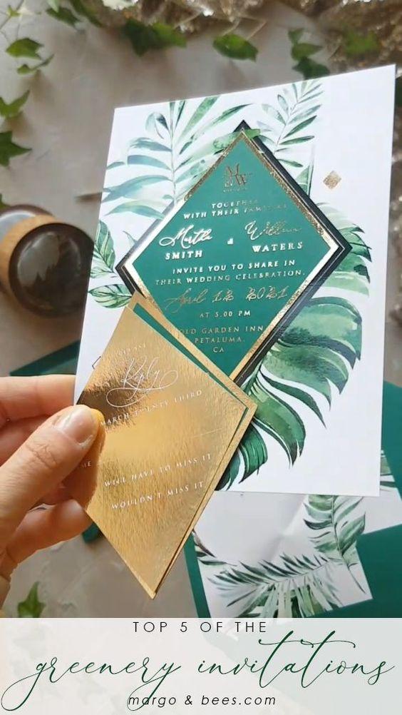 Hochzeitskarten Ideen – Tropische Blätter und Gold
