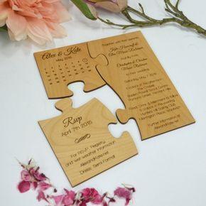 Puzzle-Einladungskarten zur Hochzeit