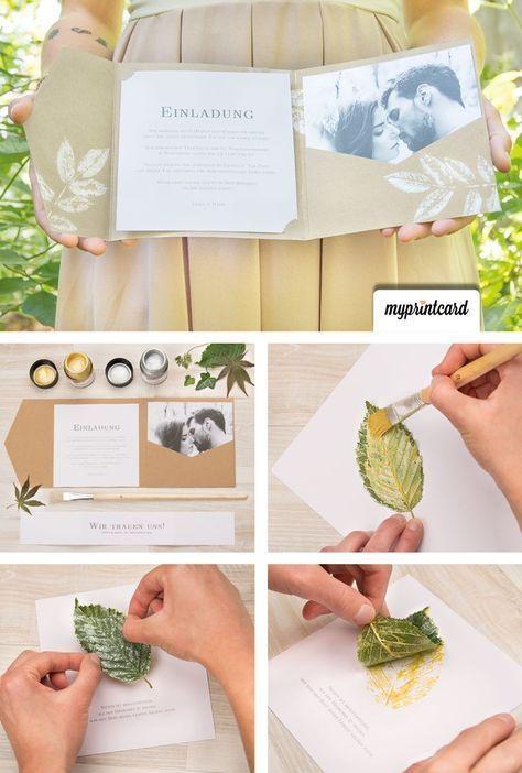 Hochzeitseinladungen selbst gestalten mit Blättern