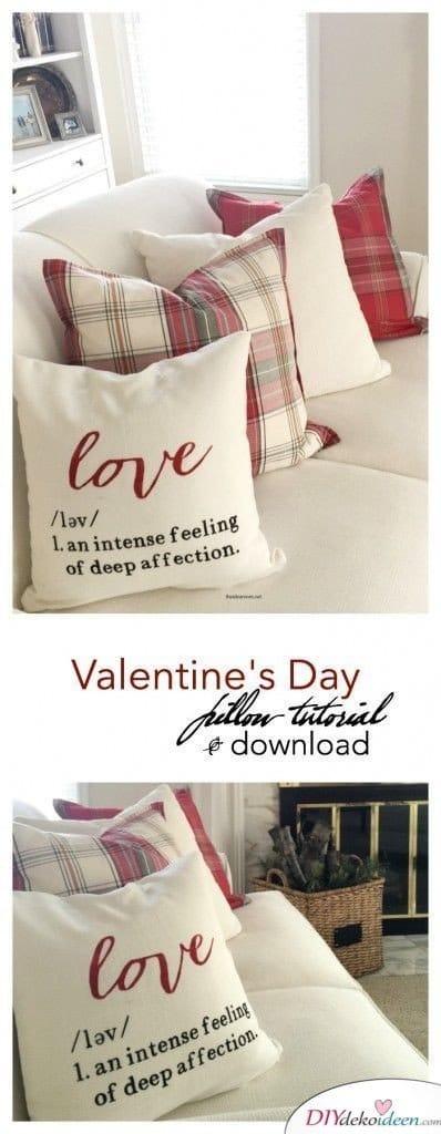 Romantisches Valentinstagskissen - Valentinstagsgeschenke für Frauen zum Selbermachen