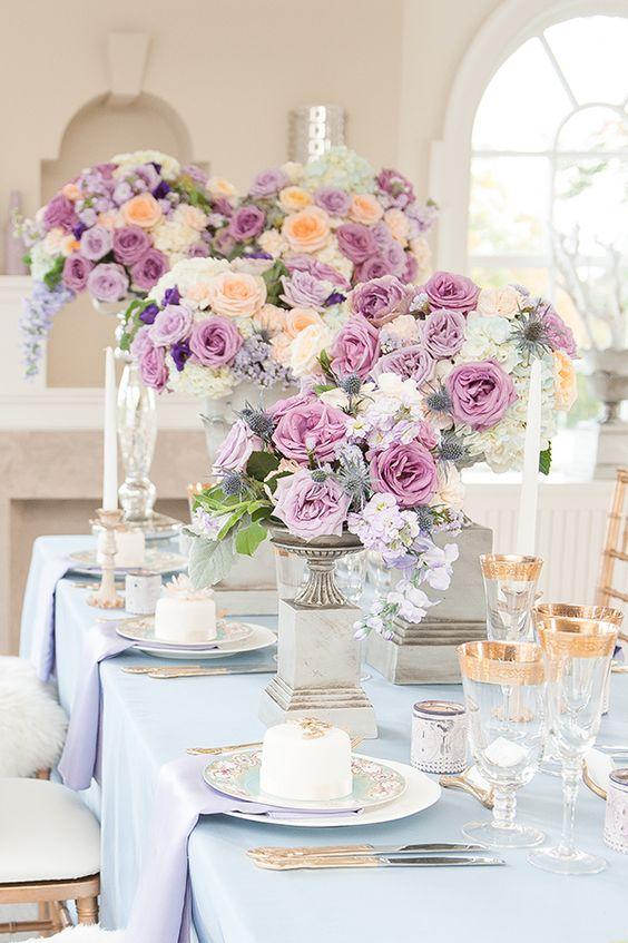 Lila Farbklecks - Hochzeit Tischdeko selber machen