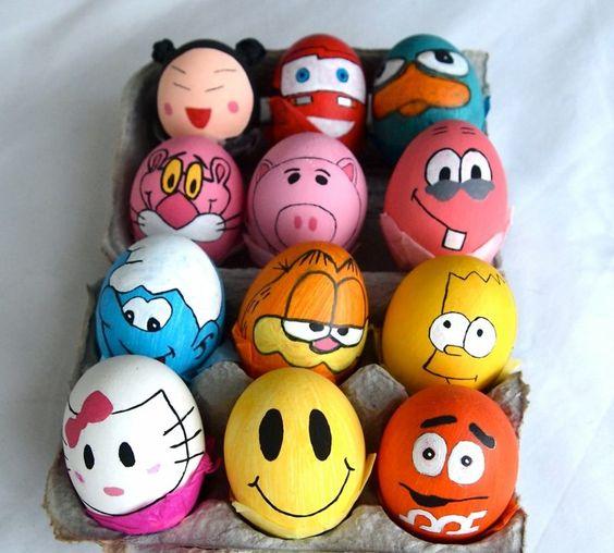 Comic-Figuren-Ostereier - Ostereier basteln mit Kindern