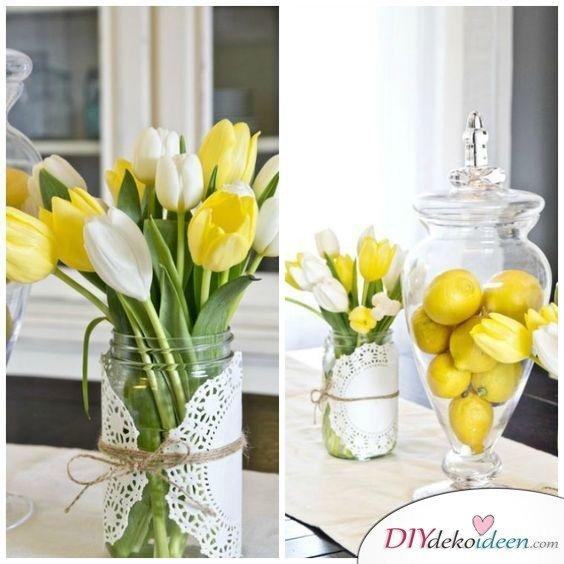 Tulpen und Zitronen - Frühling Tischdeko Ideen mit Blumen