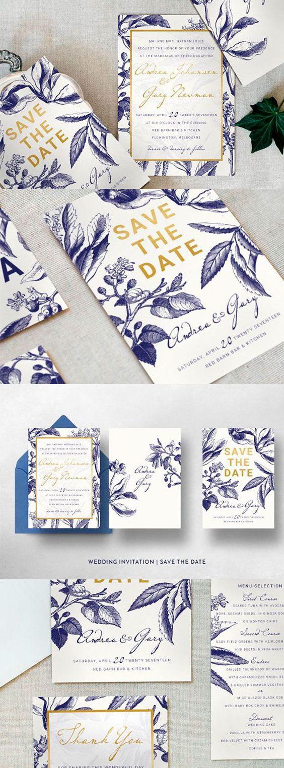 Hochzeitskarten Ideen mit Blattmuster