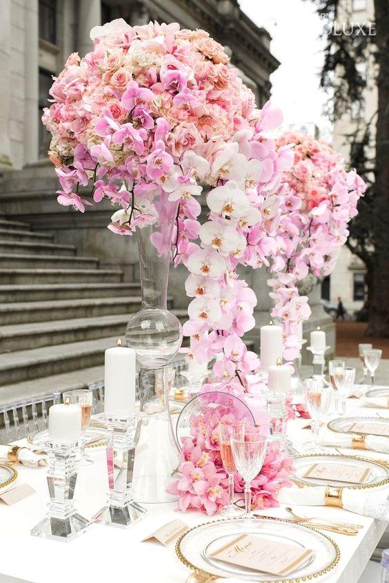 Üppige Orchideen - Hochzeit Tischdeko selber machen