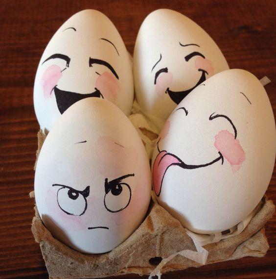 Eier mit witzigen Gesichtern - Ostereier basteln mit Kindern