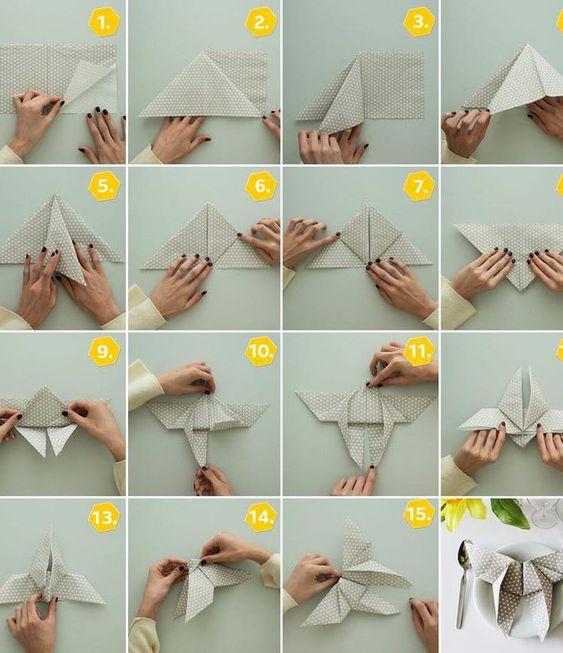 Papierservietten falten zur Hochzeit
