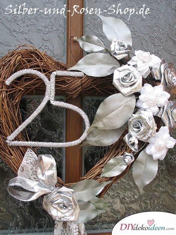 Silberner Türkranz - Deko für Silberhochzeit