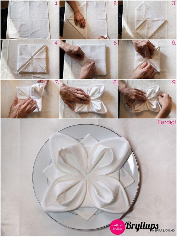 Stoffservietten falten - Servietten zur Hochzeit
