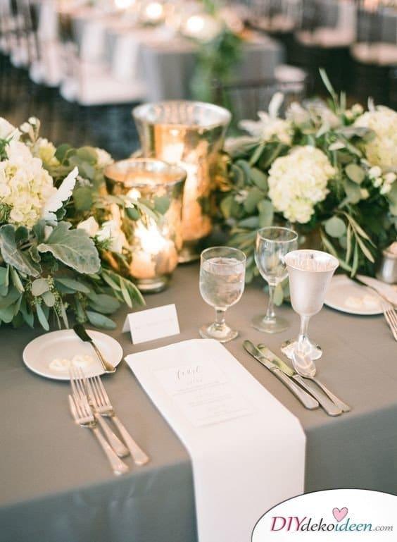 Tischdeko zur silbernen Hochzeit