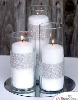 Tischdeko Silberhochzeit mit Kerzen